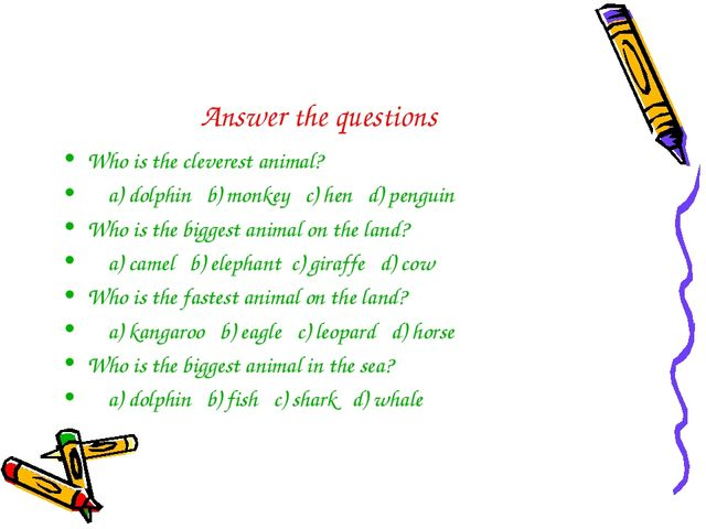Answer the questions Who is the cleverest animal? a) dolphin b) monkey c) hen...