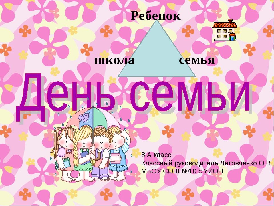 Ребенок школа семья 8 А класс Классный руководитель Литовченко О.В. МБОУ СОШ...