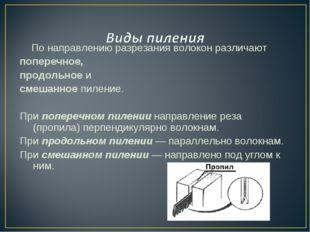 По направлению разрезания волокон различают поперечное, продольное и смешан