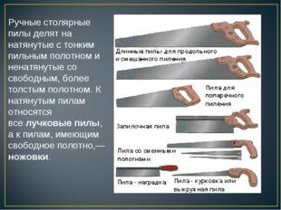 Ручные столярные пилы делят на натянутые с тонким пильным полотном и ненатяну