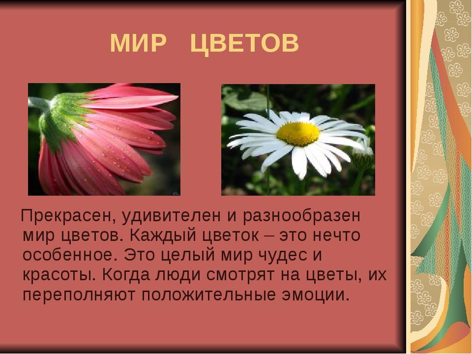 МИР ЦВЕТОВ Прекрасен, удивителен и разнообразен мир цветов. Каждый цветок – э...