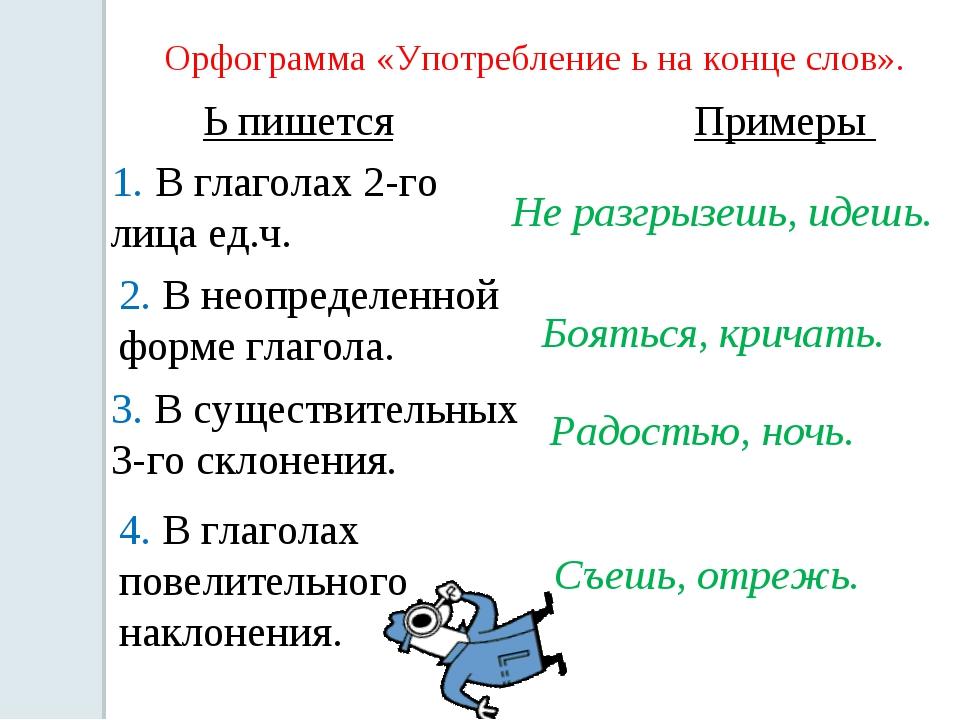 Орфограмма «Употребление ь на конце слов». Ь пишется 1. В глаголах 2-го лица...
