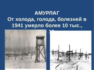 АМУРЛАГ От холода, голода, болезней в 1941 умерло более 10 тыс., а в 1942 –