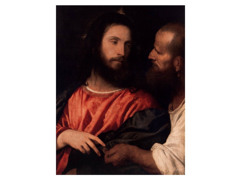 На холсте итальянского живописца Тициана Иисус Христос смотрит на человека, п...