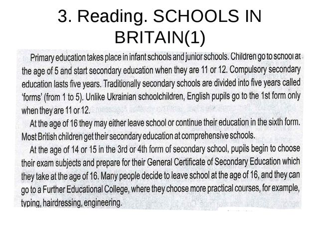 3. Reading. SCHOOLS IN BRITAIN(1)