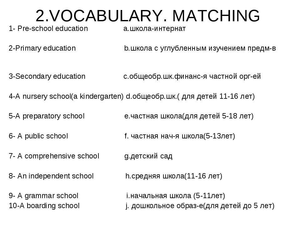 2.VOCABULARY. MATCHING 1- Pre-school education a.школа-интернат 2-Primary edu...