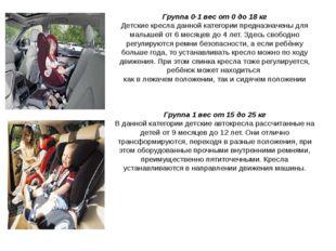 Группа 0-1 вес от 0 до 18 кг Детские кресла данной категории предназначены дл