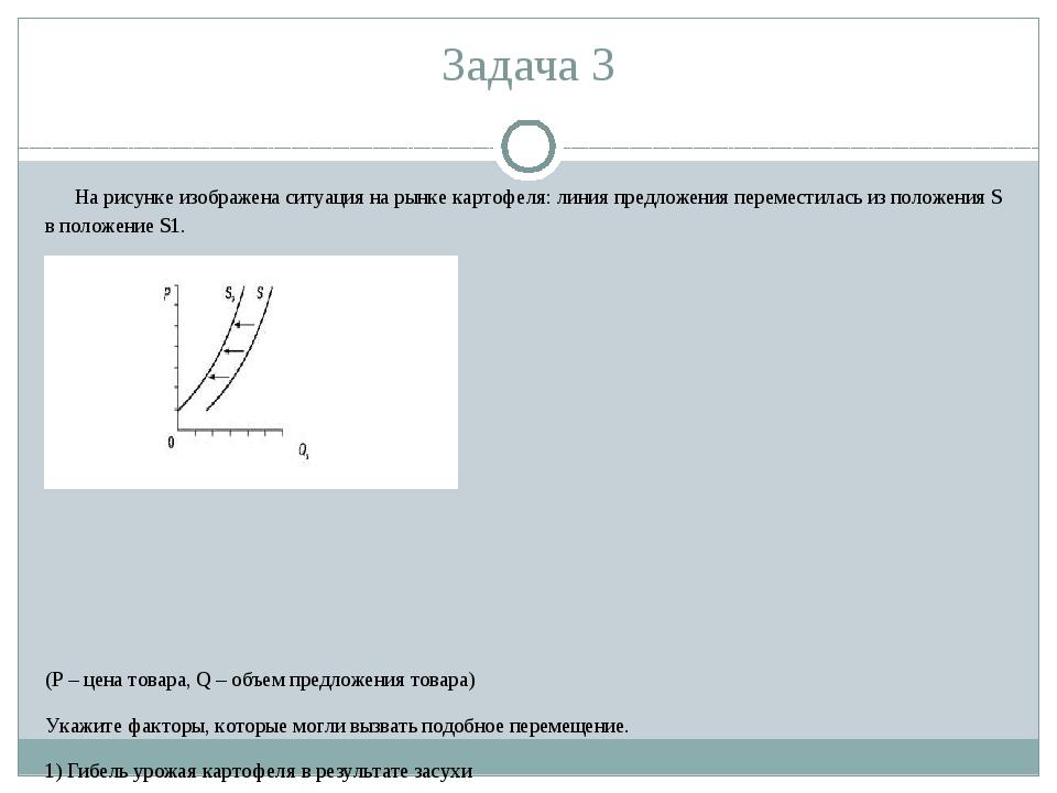 Задача 3 На рисунке изображена ситуация на рынке картофеля: линия предложения...