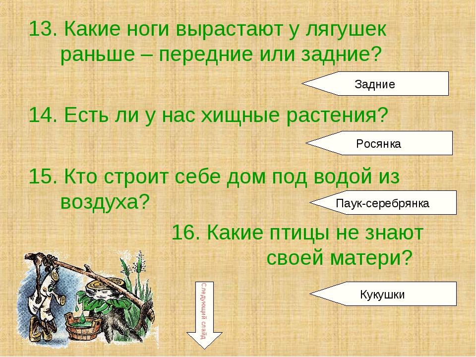 13. Какие ноги вырастают у лягушек раньше – передние или задние? 14. Есть ли...