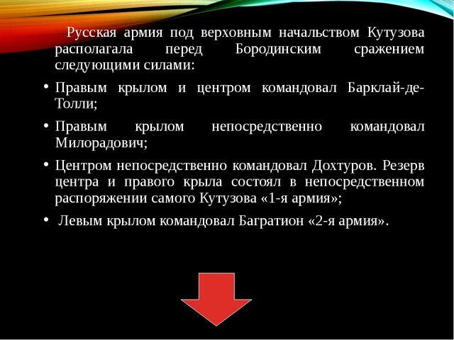 Русская армия под верховным начальством Кутузова располагала перед Бородинск...