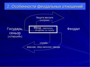 2. Особенности феодальных отношений Феод –земельное владение за службу Феодал