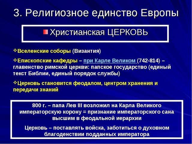 3. Религиозное единство Европы Христианская ЦЕРКОВЬ Вселенские соборы (Визант...