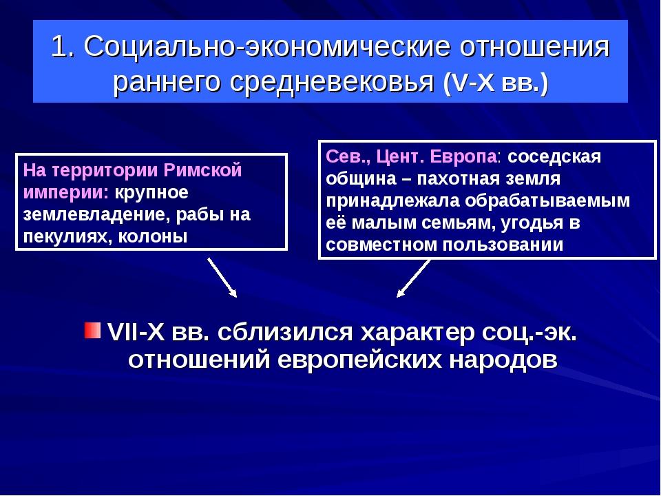 1. Социально-экономические отношения раннего средневековья (V-X вв.) VII-X вв...