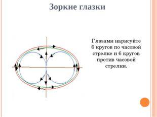 Зоркие глазки Глазами нарисуйте 6 кругов по часовой стрелке и 6 кругов против