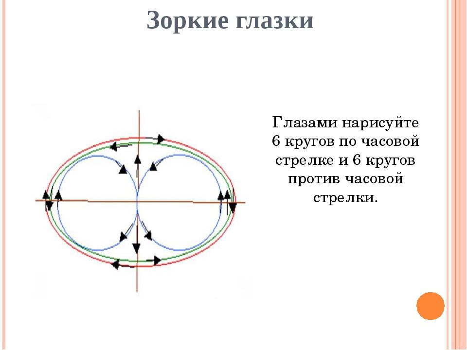 Зоркие глазки Глазами нарисуйте 6 кругов по часовой стрелке и 6 кругов против...