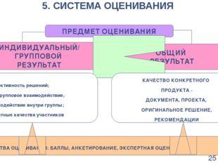 5. СИСТЕМА ОЦЕНИВАНИЯ ПРЕДМЕТ ОЦЕНИВАНИЯ ИНДИВИДУАЛЬНЫЙ/ ГРУППОВОЙ РЕЗУЛЬТАТ