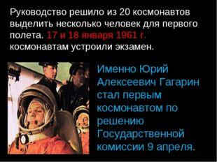 Руководство решило из 20 космонавтов выделить несколько человек для первого п