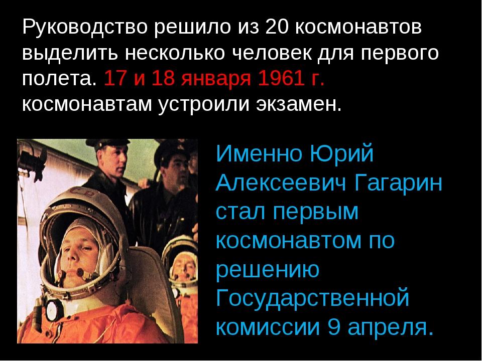 Руководство решило из 20 космонавтов выделить несколько человек для первого п...