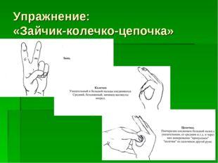 Упражнение: «Зайчик-колечко-цепочка»