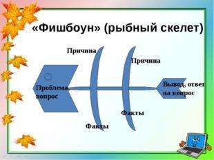 «Фишбоун»(рыбный скелет) Проблема, вопрос Причина Причина Факты Факты Вывод,