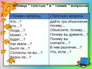 """Таблица """" толстых """" и """" тонких """" вопросов «Тонкие» вопросы «Толстые» вопросы"""