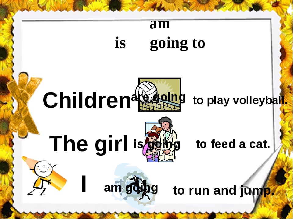am is going to are Children to play volleyball. The girl to feed a cat. I to...