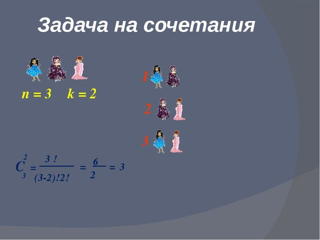 Задача на сочетания n = 3 k = 2