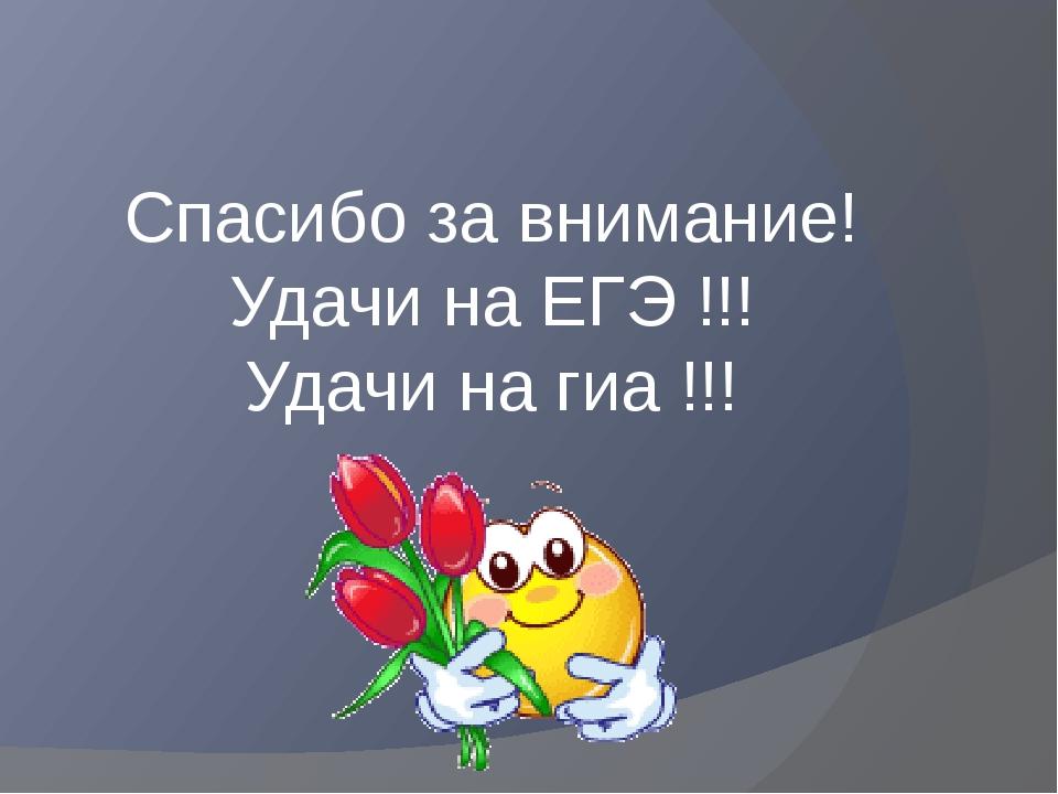 Спасибо за внимание! Удачи на ЕГЭ !!! Удачи на гиа !!!