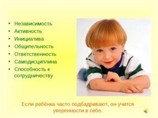 Независимость Активность Инициатива Общительность Ответственность Самодисципл