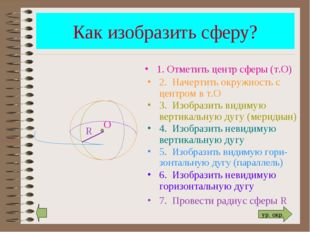 Как изобразить сферу? R 1. Отметить центр сферы (т.О) 2. Начертить окружность