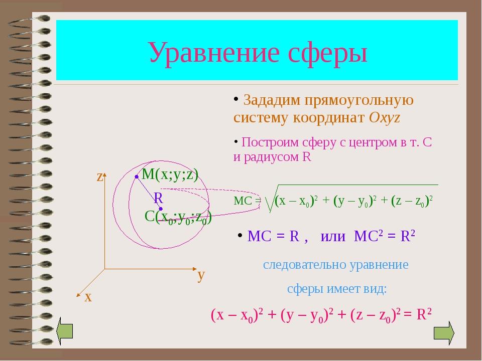 Уравнение сферы (x – x0)2 + (y – y0)2 + (z – z0)2 = R2 х у z М(х;у;z) R Задад...