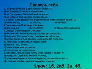 Проверь себя 1.Где расположена Воронежская область? а) на Западно-Сибирской р