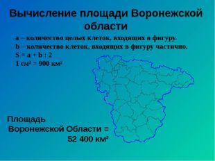 Вычисление площади Воронежской области а – количество целых клеток, входящих