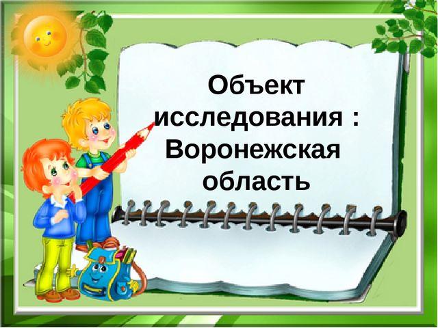 Объект исследования : Воронежская область
