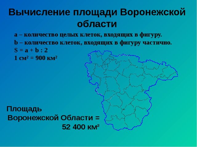 Вычисление площади Воронежской области а – количество целых клеток, входящих...