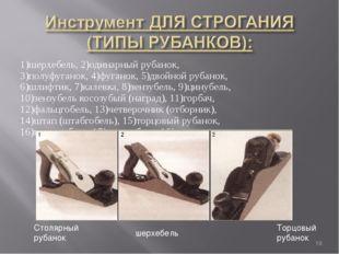 1)шерхебель, 2)одинарный рубанок, 3)полуфуганок, 4)фуганок, 5)двойной рубанок