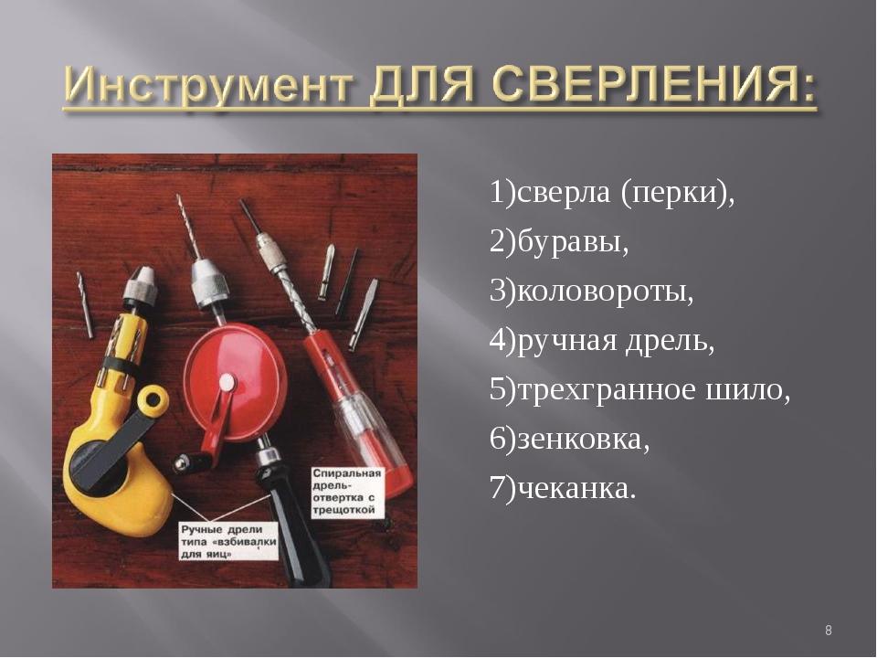 1)сверла (перки), 2)буравы, 3)коловороты, 4)ручная дрель, 5)трехгранное шило,...
