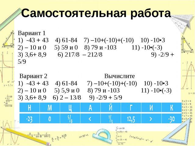 Самостоятельная работа  Вариант 1 1) -43 + 43 4) 61-84 7) –10+(-10)+(-10) 10...