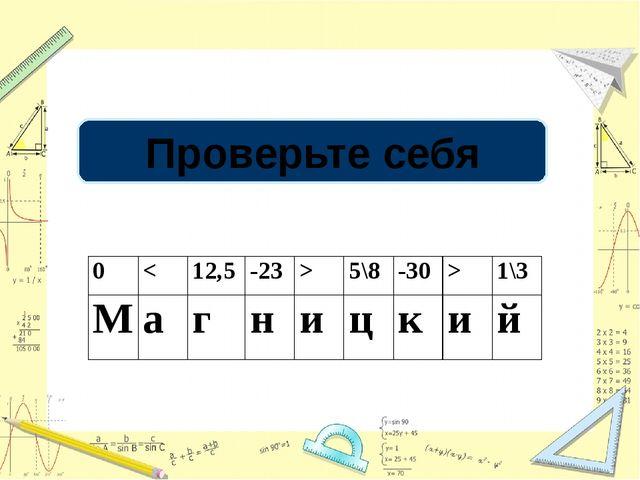 Проверьте себя 0  5\8 -30 > 1\3 M а г н и ц к и й