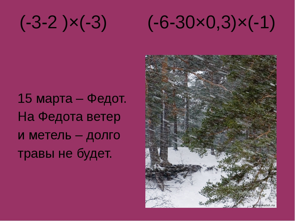 (-3-2 )×(-3) (-6-30×0,3)×(-1) 15 марта – Федот. На Федота ветер и метель – до...
