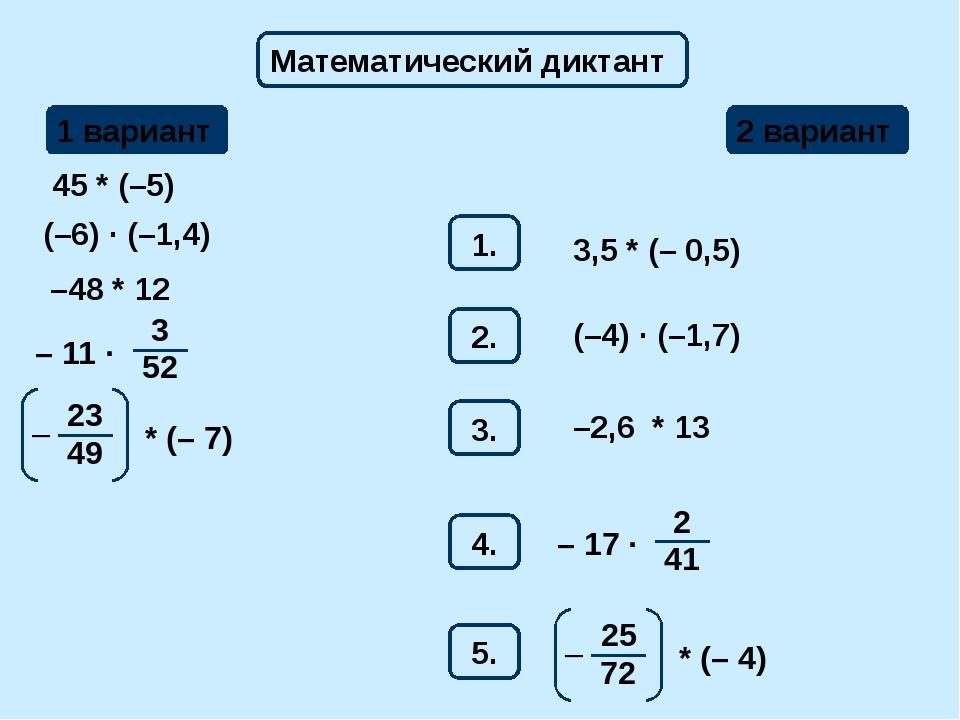 Математический диктант 1 вариант 2 вариант 1. 45 * (–5) 3,5 * (– 0,5) 2. (–6)...