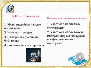 ИКТ - технология Практико-ориентированная технология 1. Мультимедийные и виде