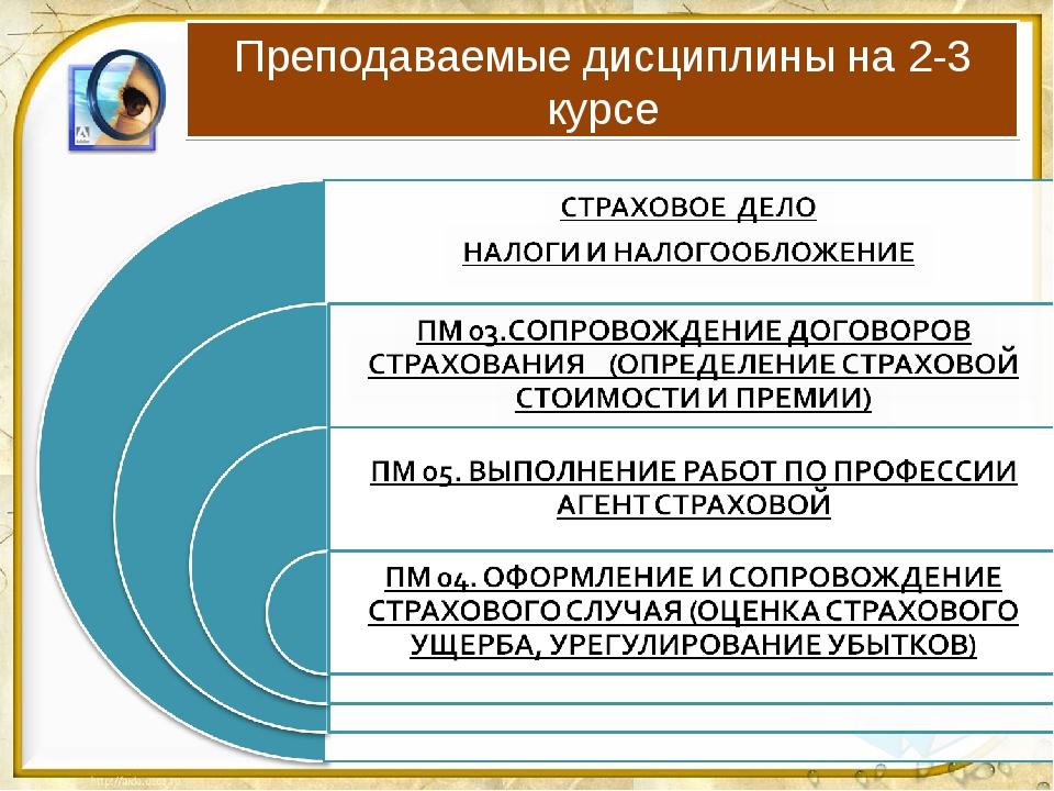 Преподаваемые дисциплины на 2-3 курсе