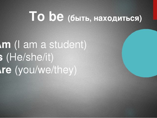 To be (быть, находиться) Am (I am a student) Is (He/she/it) Are (you/we/they)