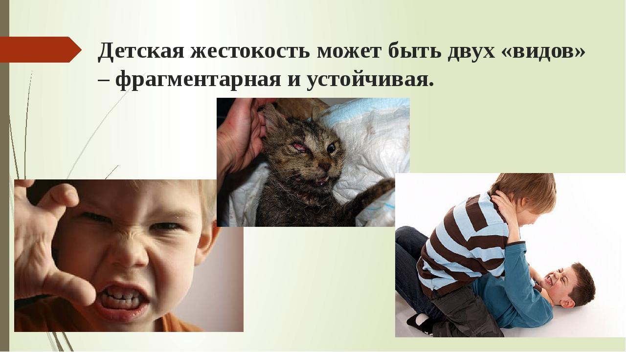 Детская жестокость может быть двух «видов» – фрагментарная и устойчивая.