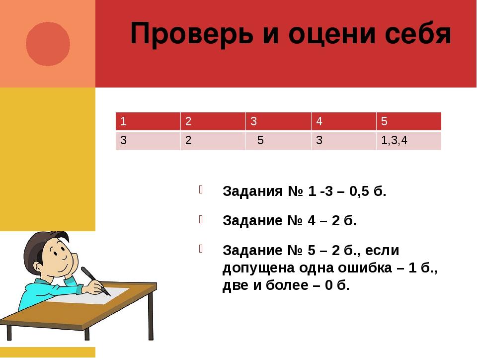 Проверь и оцени себя Задания № 1 -3 – 0,5 б. Задание № 4 – 2 б. Задание № 5 –...
