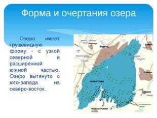 Озеро имеет грушевидную форму - с узкой северной и расширенной южной частью.