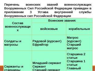 Перечень воинских званий военнослужащих Вооруженных Сил Российской Федерации