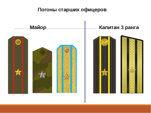 Погоны старших офицеров Майор Капитан 3 ранга