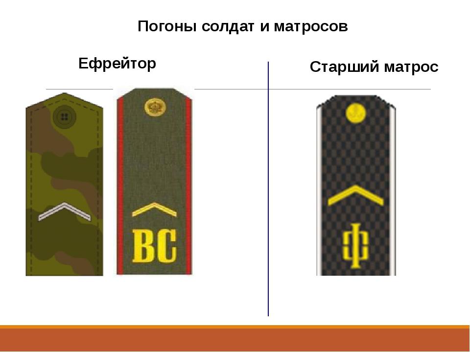 Погоны солдат и матросов Ефрейтор Старший матрос